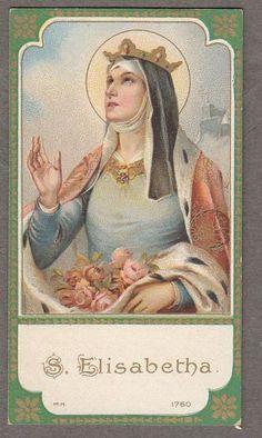 SAINT ELIZABETH  antique small holy card
