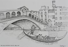 The Rialto Bridge over the Grand Canal in Venice, Italy. Freehand ink sketch by. - Daiorama The Rialto Bridge over the Grand Canal in Venice, Italy. Freehand ink sketch by. The Rialto Bridge over Drawing Sketches, Art Drawings, Sainte Sophie, Bridge Drawing, Landscape Sketch, Architecture Drawings, Italy Architecture, Grand Canal, Urban Sketching