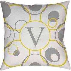 Thumbprintz Circle Variations Monogram Yellow Decorative Pillows