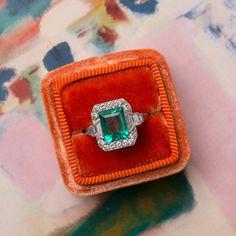 Gorgeous Art Deco Emerald Ring with Diamond Halo