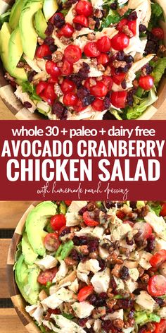 This Avocado Cranberry Chicken Salad is a satisfying meal and totally dairy free (Whole 30 compliant)!
