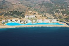 The Crystal Lagoon, located at the San Alfonso del Mar resort in Algarrobo, Chile, is the world's largest outdoor pool, stretching more than half of a mile and filled with 66 million gallons of water.