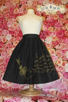 Hand painted custom skirt with  or silver print key  lock