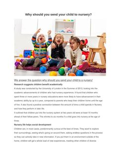 Why should you send your child to nursery  Our nurseries have structured schedules that include plenty of time for physical activity, quiet time (including daily reading sessions for groups and individuals), group programs, individual activities, meals, snacks, and free time. Rowans Nurseries in Birmingham ideally serves as nurseries for the Sutton Coldfield, Erdington, Great Barr, Kingstanding and surrounding areas, so if you're looking for nurseries in Birmingham, give us a call: 0121 354…