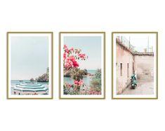 Italy Set of 3 Prints Colorful Art Gallery Wall Set Beach Wall Prints Artwork