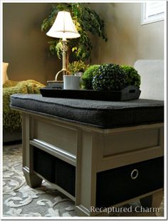 Make a cushion to go on top of coffee table and to fit inside it.  Wayfair Coffee Table Ottoman