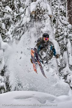 Mark Abma skiing deep powder at Mt. Baker