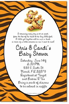 Baby Tigger Winnie the Pooh Baby Shower Invitations DIY - CHOOSE YOUR COLOR SCHEME - CHOOSE YOUR ANIMAL PRINT - CHOOSE YOUR CHARACTER - Get these invitations RIGHT NOW. Design yourself online, download and print IMMEDIATELY! Or choose my printing services. No software download is required. Free to try!
