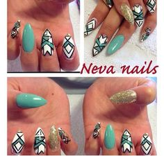 Blue Aztec nail ideas