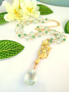 Hawaiian canary gold cherry blossom green amethyst by KBlossoms, $145.00