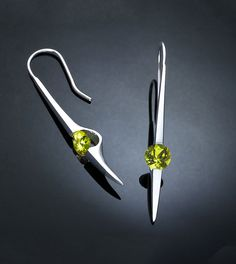 peridot earrings - silver dangle earrings - August birthstone - green - Argentium silver - statement earrings - gemstone jewelry - 2444