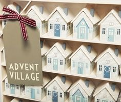 Traditional Blue Wooden Advent Village House Display Calendar East Of India   eBay