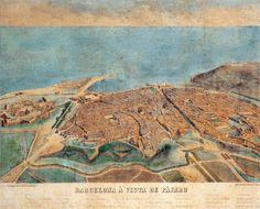 Vista aèria de Barcelona, obra d'Onofre Alsamora, que mostra la densitat urbana de Barcelona durant la dècada del 1850. l'enderroc de les muralles havia estat una demanda constant dels ciutadans barcelonins. La desaparició del cinyell de murs que impedia el creixement de la ciutat des de l'època medieval va donar pas a l'eixample de la ciutat mitjançant el Pla Cerdà i a la construcció de la Barcelona contemporània.