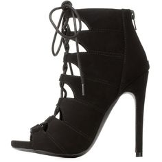 Charlotte Russe Black Peep Toe Cut-Out Lace-Up Heels by Charlotte... (380 NOK) ❤ liked on Polyvore featuring shoes, pumps, black, black peep toe pumps, peep-toe pumps, black lace up shoes, black stiletto pumps and charlotte russe shoes