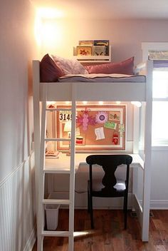 Encourage Homework Diligence With an Inspiring Homework Station: For kids who need the quiet and privacy of doing their homework in their own room, but don't necessarily have the space for a separate desk and bed along the the wall, lofting is always an option. Check out The Friendly Home's version of the desk tucked under a lofted bed. Source: The Friendly Home