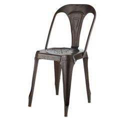 chaise indus en mtal noir meuble decosalle mangerchaise industrielledeco - Table De Salle A Manger Industriel2928