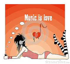 Illustration of emo girl with love to music