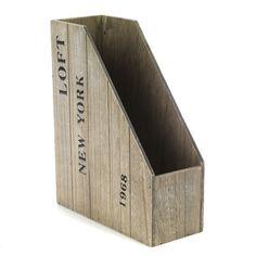 Range magazines / papiers Effet Bois Vieilli - Loft - Les boites - Les accessoires et la papeterie - Bureau - Décoration d'intérieur - Alinéa 8.99