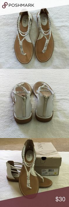 BOC by Born  Sedge White with Silver Sandals BOC By Born Sedge Sandals White and Silver braided straps . Zip up back . Leather cushy inner soles . Perfect Condition with Box . Worn once so the soles show it . But they are in perfect condition . Perfect Summer Sandals that just don't fit me . But I'm looking to replace  Shoes Sandals