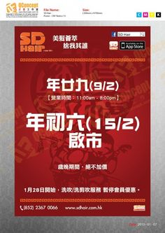 SD Hair CNY2013 Notice Poster Design & Production