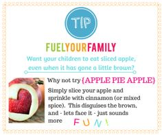 Want your children to eat sliced apple, even when it has gone a little brown?  Here is the answer!  www.fuelyourfamily.co.nz Little Brown, Has Gone, Your Family, More Fun, Your Child, Sprinkles, Spices, Apple, Eat