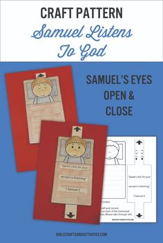 Printable craft to color and cut for the story of Samuel Listens to God - free template available Bible Activities For Kids, Bible Stories For Kids, Bible Crafts For Kids, Preschool Bible, Bible Study For Kids, Bible Lessons For Kids, Group Activities, Sunday School Lessons, Sunday School Crafts