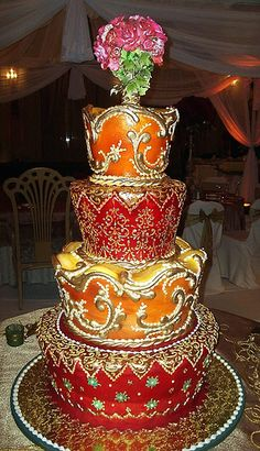 Red, orange and gold wedding cake   Indian inspired wedding cake