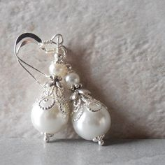 White Pearl Earrings Pearl Bridal Earrings by FiveLittleGems