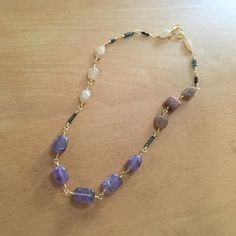 <SOLD>Phoebe Amyethyst, Yellow Jade, Calcite Wire Work Necklace. Love!