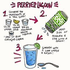 The Perrier Lagoon is tropical, delicious - and easy to make! Combine 1/2 oz. of vodka, 1/2 oz. of lemon juice, 3/4 oz. of manna verde liqeur, and 1 dash of blue curaçao liqeur. Add in 3 oz. of Perrier and stir well. Pour over ice and garnish with a lime wedge. Click through for more recipes.