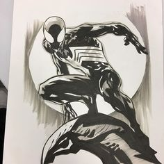 Spider-Man by Ken Lashley Spiderman Drawing, Spiderman Art, Amazing Spiderman, Marvel Venom, Marvel Art, Marvel Heroes, Spiderman Black Suit, Marvel Paintings, Silver Age Comics
