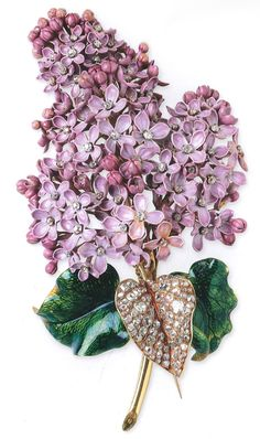 MELLERIO dits MELLER~ 19th century Lilac flower brooch with enameled lilac petals with diamond centers, and diamond set leaf.