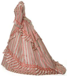Dress, France, 1870-1872. Striped gauze.