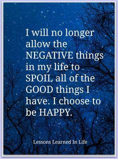 No more negativity.