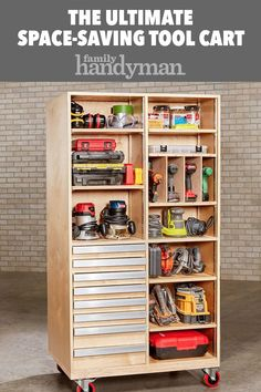 The Ultimate Space-Saving Tool Cart Roll it to your work zone for instant access; park it in a corner for space-saving storage. Power Tool Storage, Garage Tool Storage, Garage Tools, Shed Storage, Garage Plans, Car Garage, Garage Shop, Storage Ideas, Garage Workshop Organization