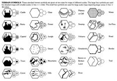 Terrain symbols for hex crawls. (Cook & Marsh D&D Expert Rulebook, TSR, 1981.)