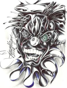 Evil Clown Tattoos, Wicked Tattoos, Prison Drawings, Art Drawings, Dark Fantasy Art, Vintage Circus, Alvin Ailey, Bolshoi Ballet, Boris Vallejo