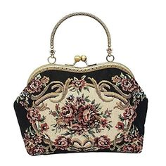 CrystalXY Handmade Wedding Clutch Purse Party Elegant Vintage Flowers Print Portable Kiss Lock Handbags -- You can get additional details at the image link.Note:It is affiliate link to Amazon.