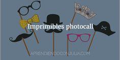20 imprimibles para fiesta y carnaval Photocall: gafas, sombreros, coronas, pajaritas, corbatas, bigotes, barbas... Para imprimir