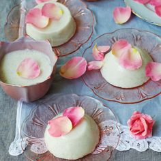 lemongrass, rose water, coconut panna cotta (made with agar agar - dairy and sugar-free, vegan)