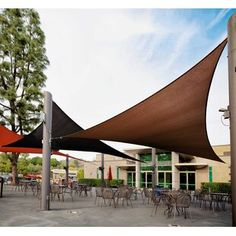 Shade sail awnings and canopies are a great solution to create shade over a patio, porch, balcony. DIY your own shade sail awning with these ideas & videos Triangle Shade Sail, Sun Sail Shade, Shade Sails, Triangle Square, Outdoor Shade, Canopy Outdoor, Backyard Shade, Patio Shade, Outdoor Pergola