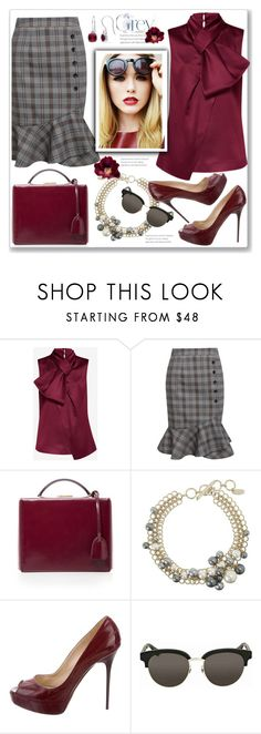 """""""Nandina"""" by paperdolldesigner ❤ liked on Polyvore featuring Ted Baker, Mark Cross, Lanvin, Jimmy Choo, Gucci, Miadora, polyvorecontests, sayingsandstylestuff and greyandwine"""