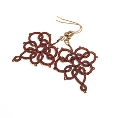 Brown lace earrings - lace jewelry. £16.00, via Etsy.