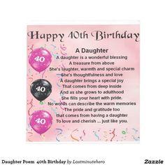 Daughter Poem 40th Birthday Memo Note Pad