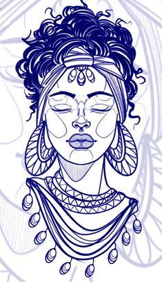 Sketch Tattoo Design, Tattoo Sketches, Tattoo Drawings, Body Art Tattoos, Sleeve Tattoos, Black Girls With Tattoos, Black Tattoos, Tattoo Outline Drawing, Sharpie Tattoos