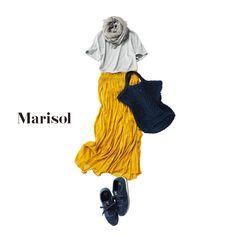 エレガントな印象のシャーリングスカートをTシャツでラフに着崩してMarisol ONLINE|女っぷり上々!40代をもっとキレイに。