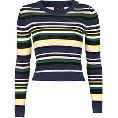 TopShop Multi Stripe Crop Top ($42) ❤ liked on Polyvore featuring tops, sweaters, topshop, navy blue, navy stripe top, stripe top, striped top and navy blue long sleeve top