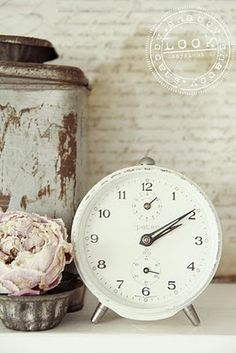 White Alarm Clock...vintage...old rusty canister & heart mold...flower.