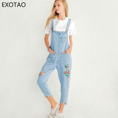 1a7cd7680832 EXOTAO Women Denim Overalls Loose Flower Embroidery Jeans Jumpsuit Ladies  Hole Suspender Pants Fashion Frayed Rompers