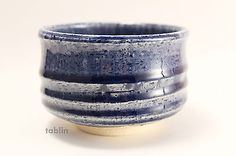 Mino yaki ware Japanese tea bowl indigo blue glaze hish chawan Matcha Green Tea